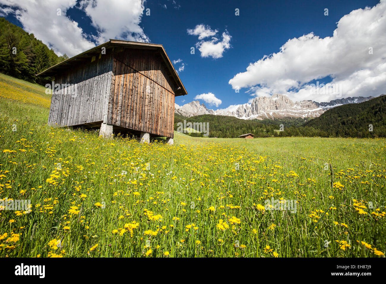 A typical mountain hut in the Tires Valley, by the Catinaccio Group and Lake Carezza in the Dolomites, South Tyrol, - Stock Image