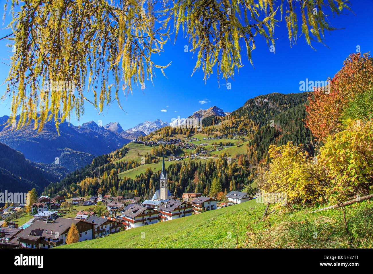 The villages of Selva di Cadore and Colle Santa Lucia, in the Dolomitic Cadore Region, Veneto, Italy - Stock Image