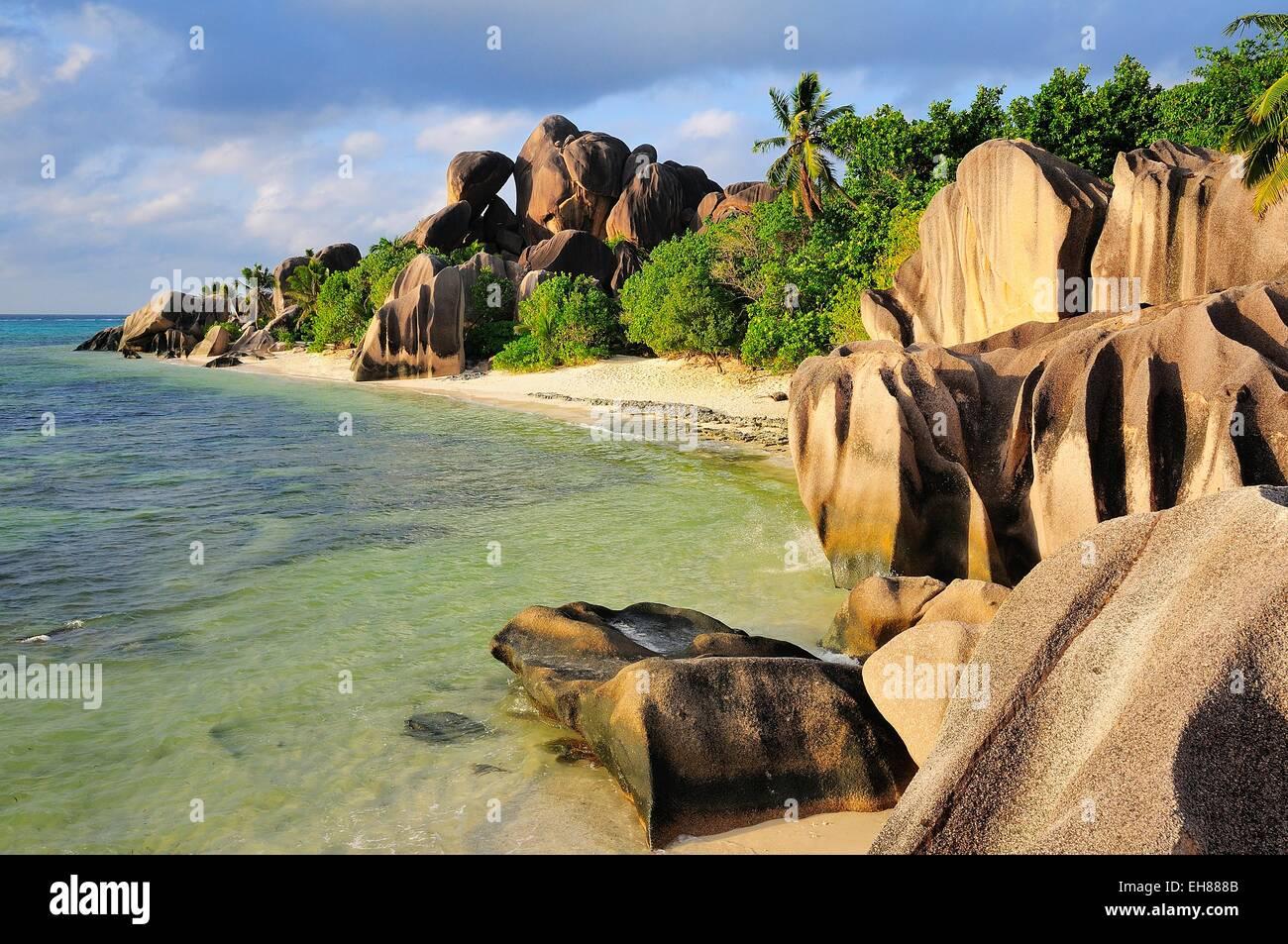 Granite rocks on Anse Source d'Argent beach, La Digue Island, La Digue and Inner Islands, Seychelles - Stock Image