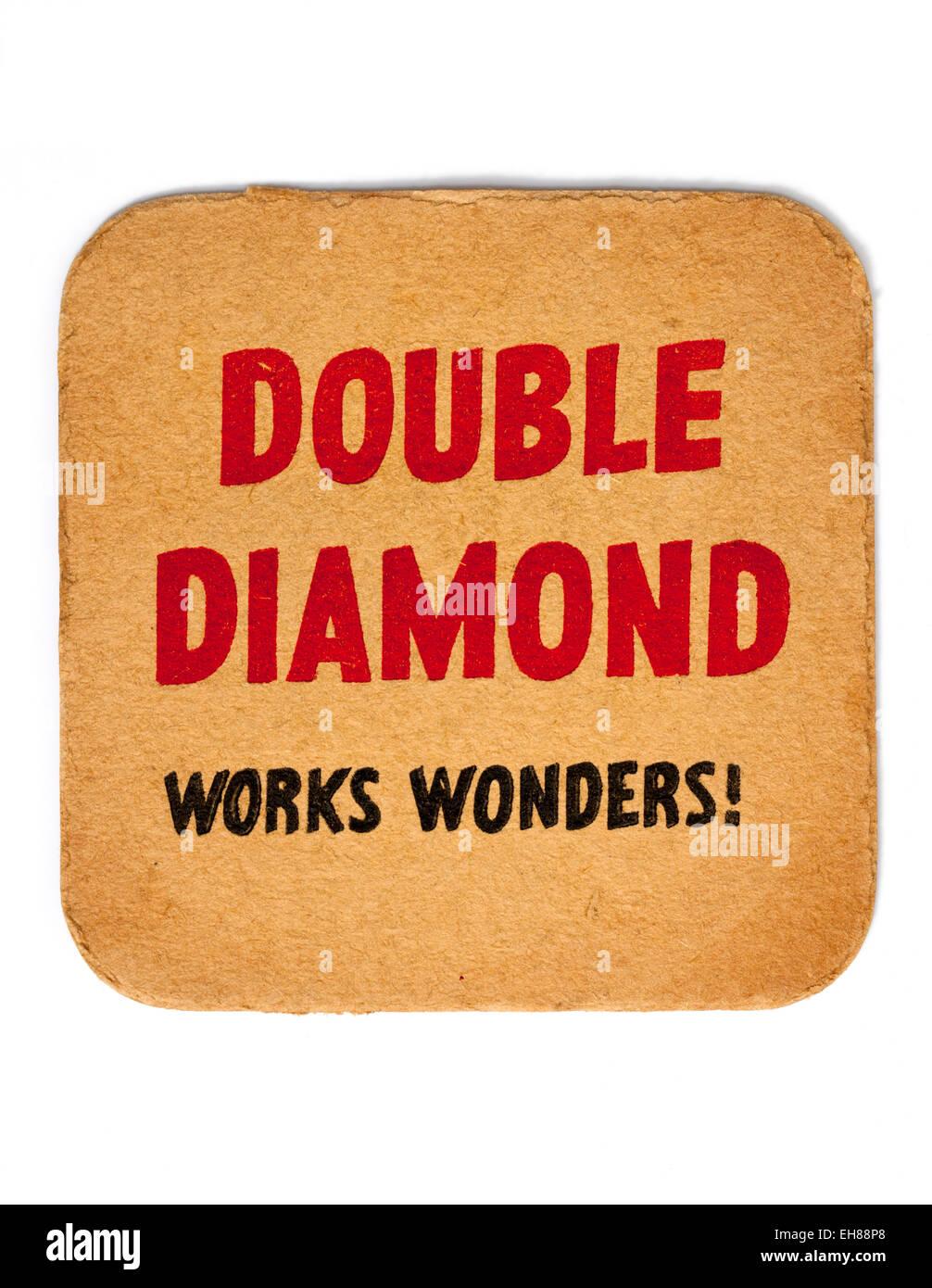Vintage Beermat Advertising Double Diamond Beer - Stock Image
