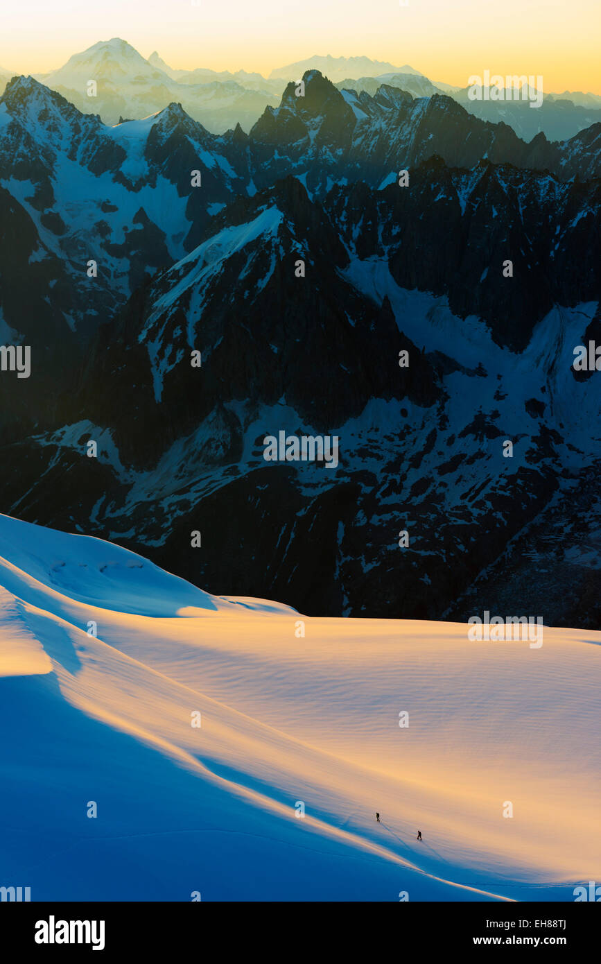 Aiguille du Midi sunrise, Chamonix, Rhone Alps, Haute Savoie, France, Europe - Stock Image