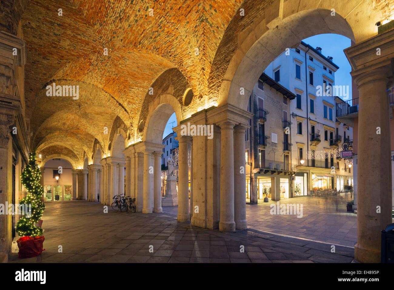 An arcade in Piazza Signori, Vicenza, UNESCO World Heritage Site, Veneto, Italy, Europe - Stock Image