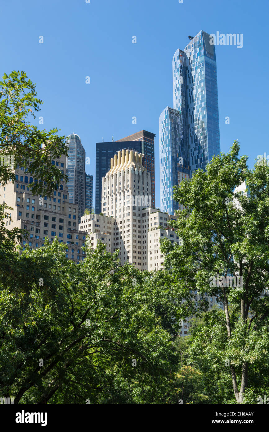 Skyscrapers near Central Park, New York City, United States of America, North America - Stock Image