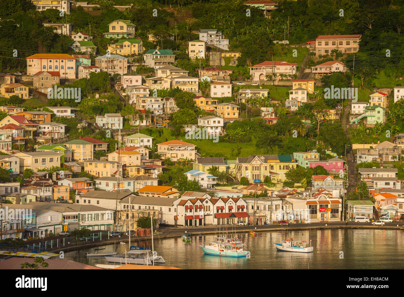 View over St. Georges, capital of Grenada, Windward Islands, West Indies, Caribbean, Central America - Stock Image