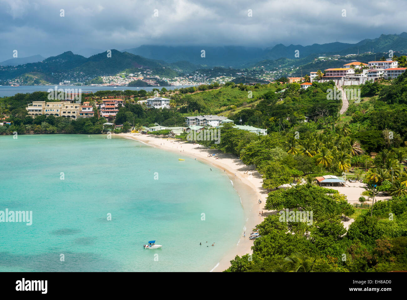 View over Mourne Rouge beach, Grenada, Windward Islands, West Indies, Caribbean, Central America - Stock Image