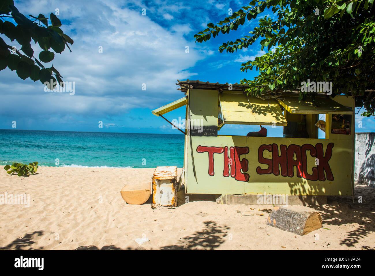 Little beach bar on Magazine beach, Grenada, Windward Islands, West Indies, Caribbean, Central America - Stock Image