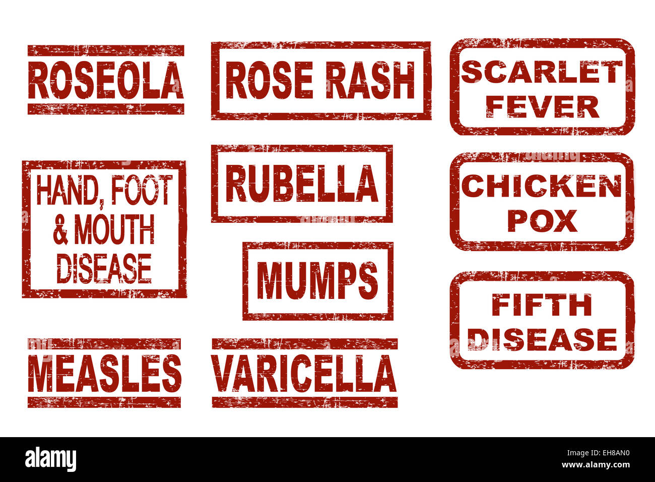 Set of red grunge style ink stamps showing various childhood diseases - Stock Image