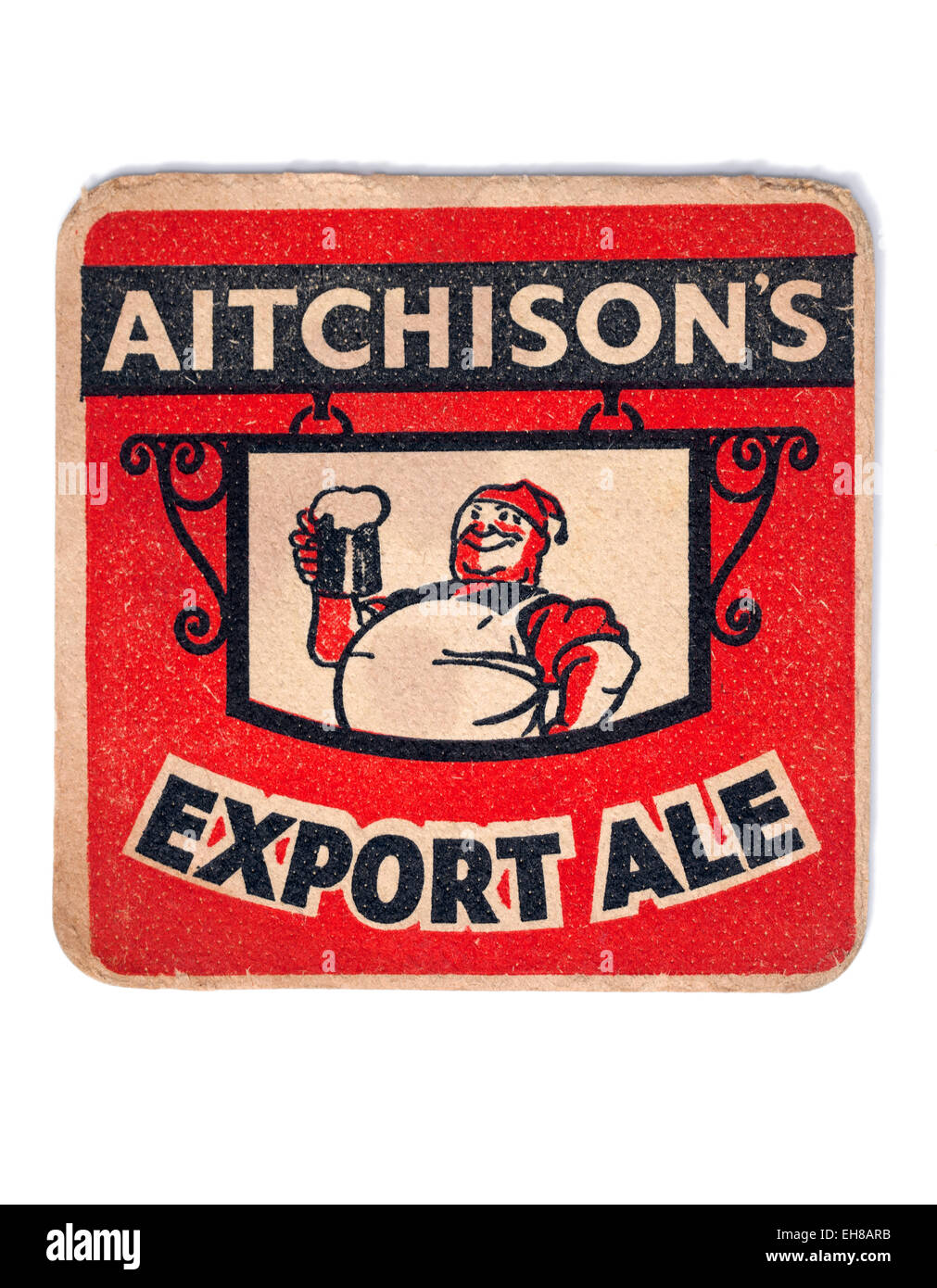 Vintage Beermat Advertising Aitchisons Export Ale Beer - Stock Image