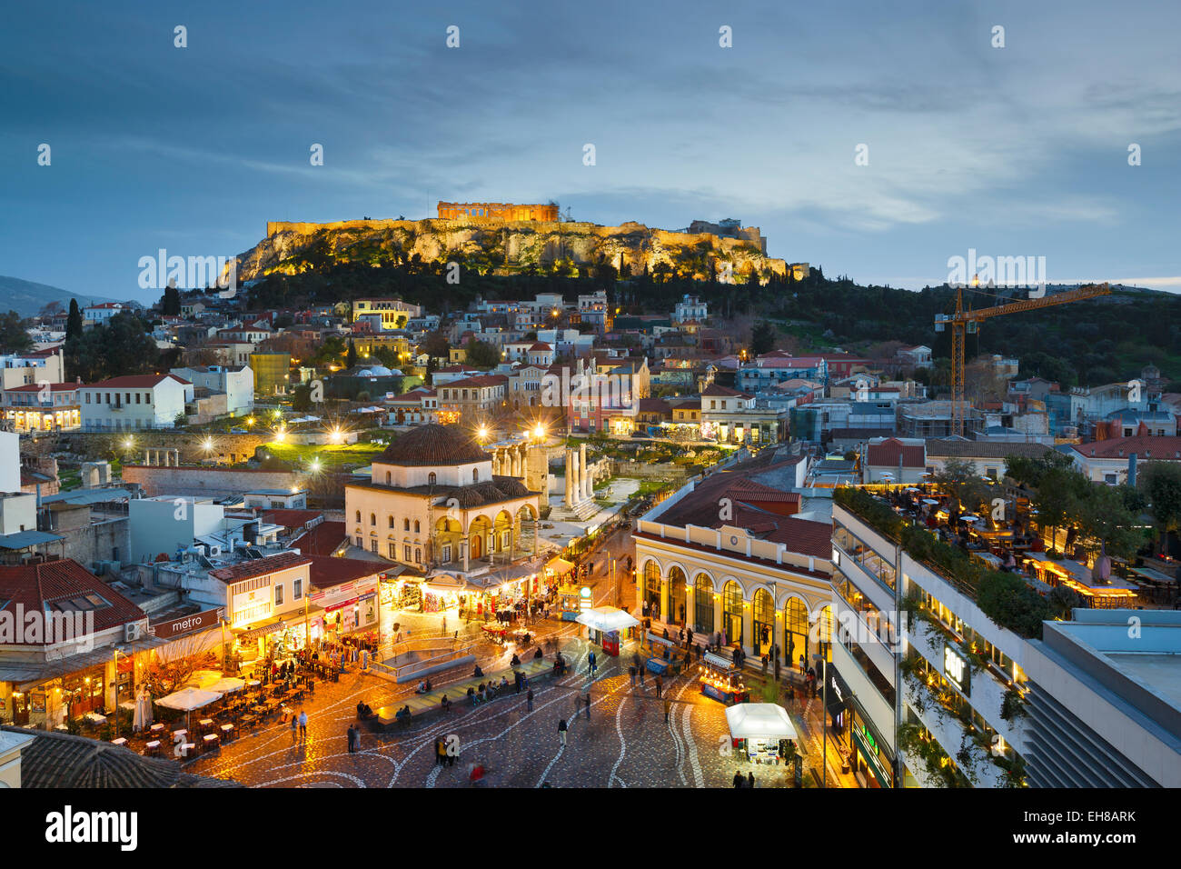 Monastiraki square and Plaka, Athens, Greece - Stock Image