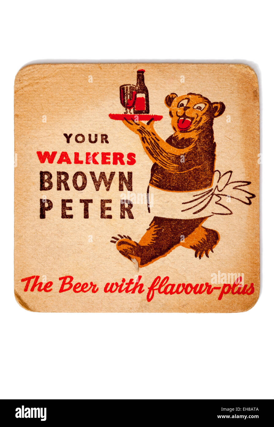 Vintage Beermat Advertising Walkers Brown Peter - Stock Image