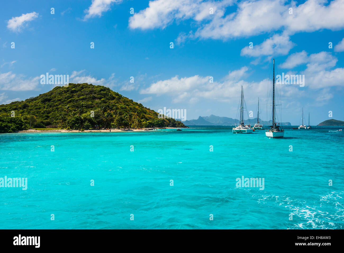 Sailing boats anchoring in the Tobago Cays, The Grenadines, Windward Islands, West Indies, Caribbean - Stock Image