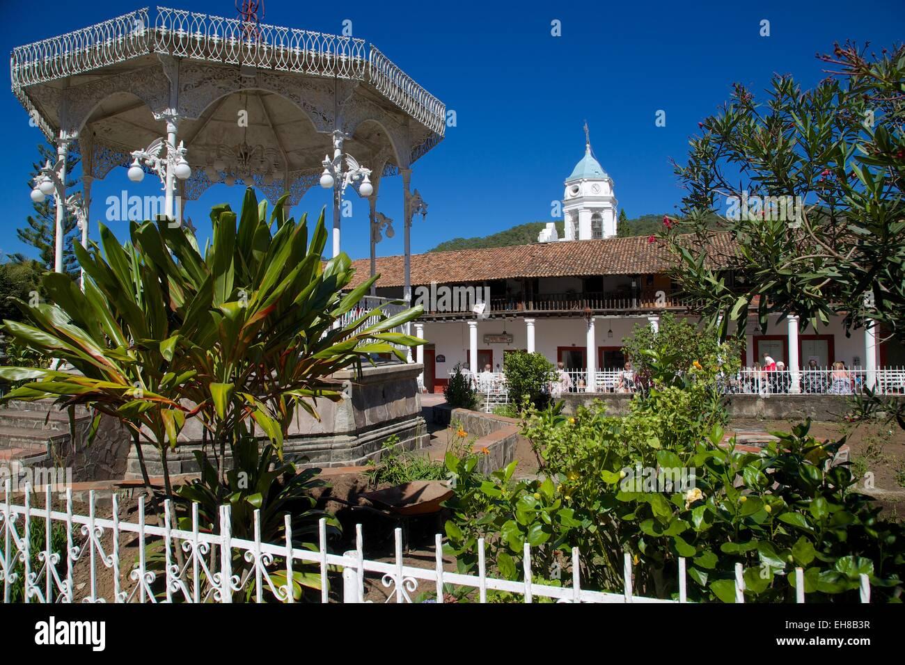 Bandstand and Church Belltower, San Sebastian del Oeste (San Sebastian), Jalisco, Mexico, North America - Stock Image