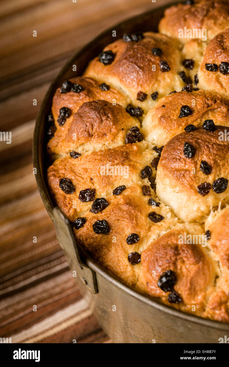 Freshly baked Monkey bread, also called monkey puzzle bread, sticky bread, African coffee cake, golden crown and - Stock Image