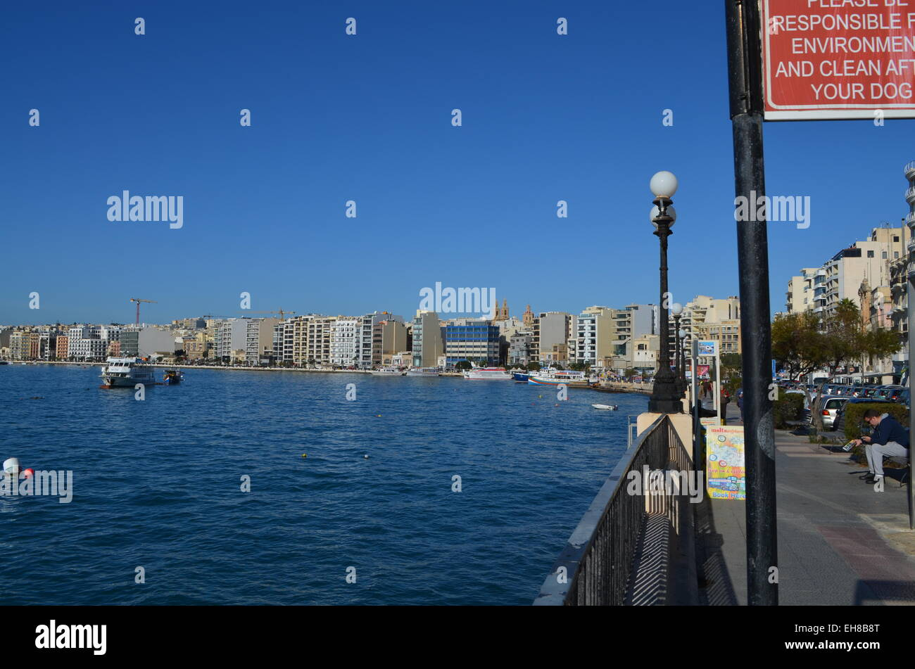 The front at Sliema, a part of Valletta. This faces directly opposite to the Anglian Cathedral and forms part of - Stock Image