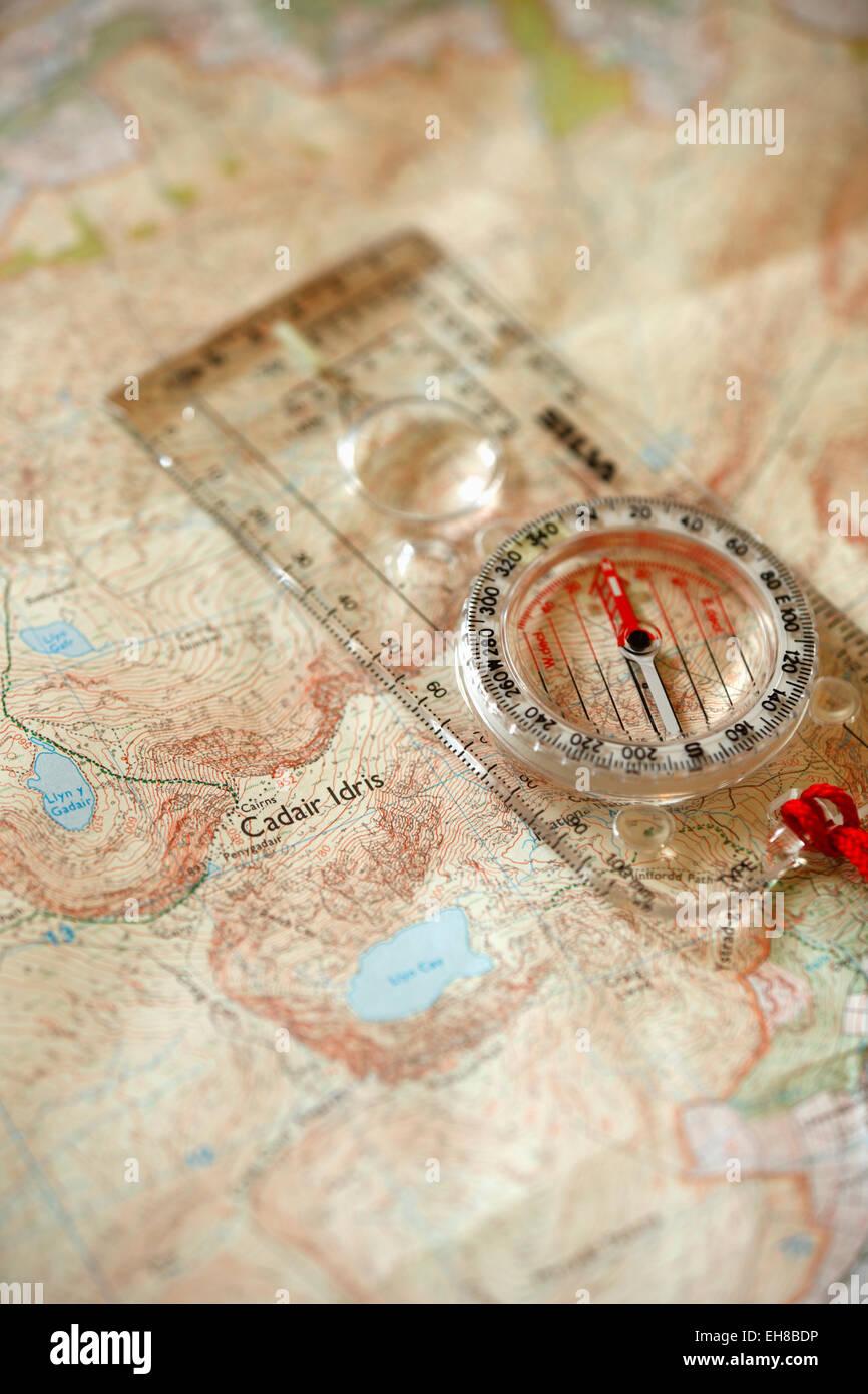 Compass on OS Map of Cadair Idris (detail). - Stock Image