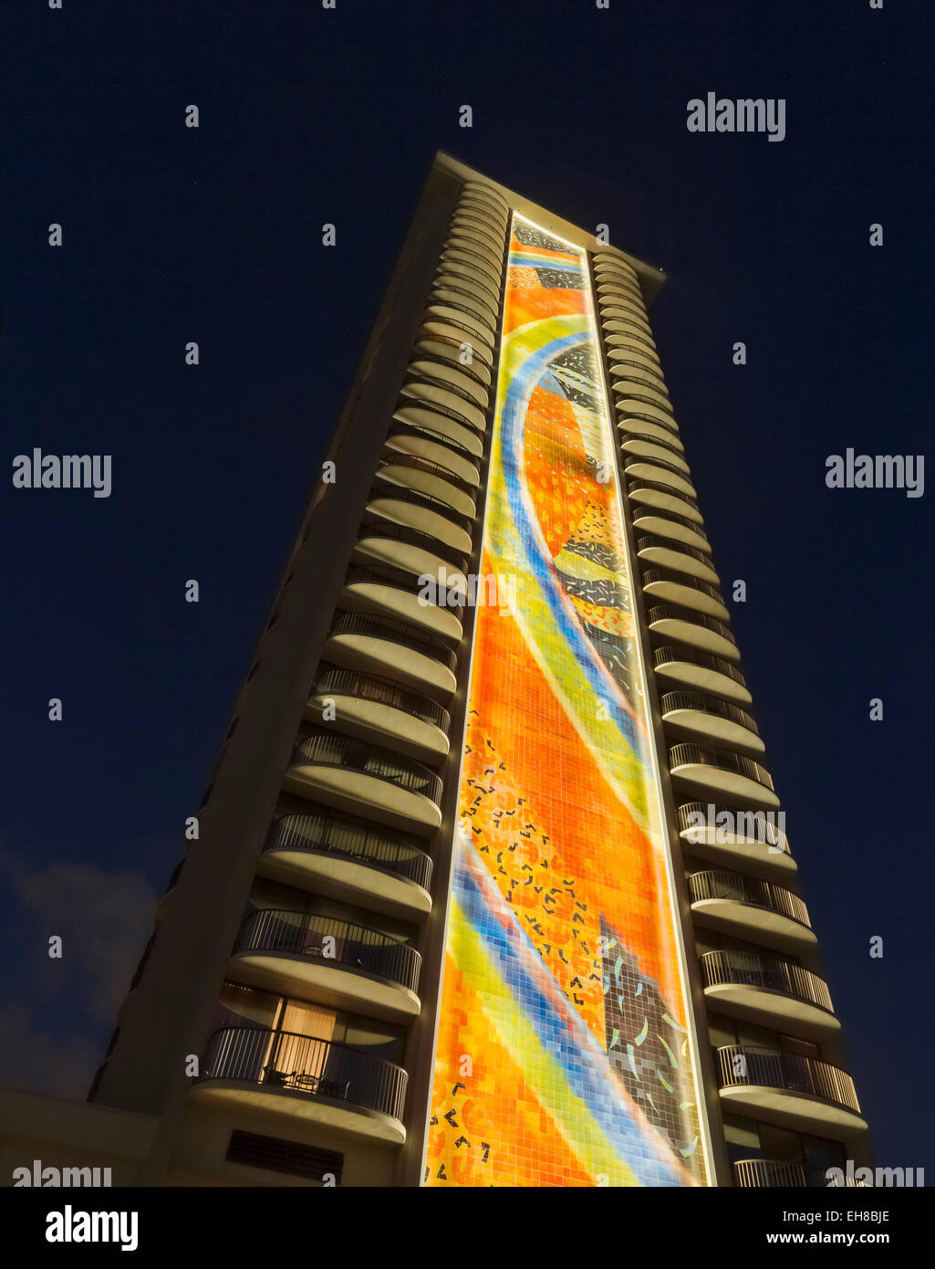 Newly restored tiling mural by Millard Sheets on Rainbow Tower at Hilton Hawaiian Village Hotel in Waikiki, Oahu, - Stock Image
