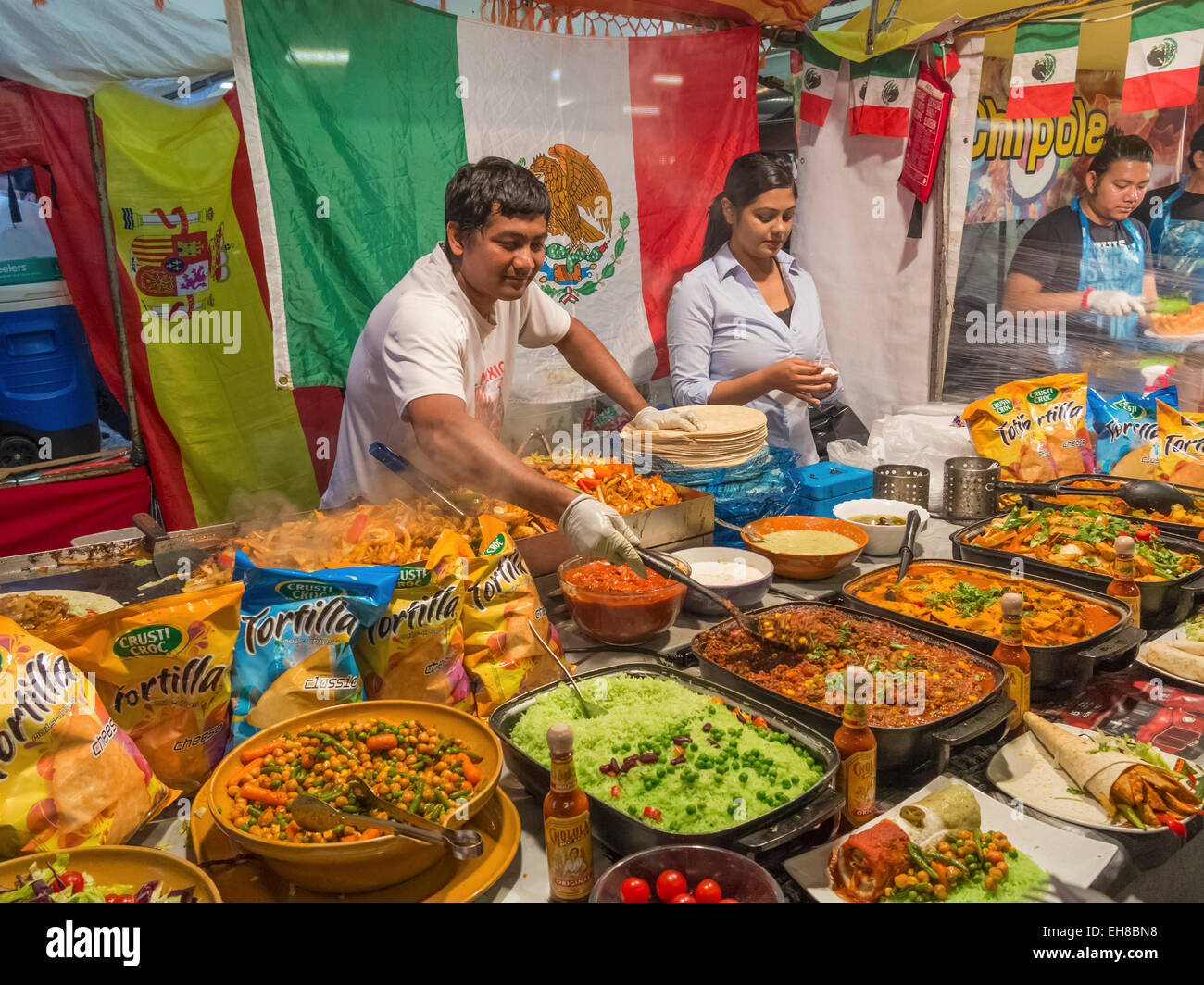 Mexican food stall in Brick Lane Market, London, England, UK - Stock Image