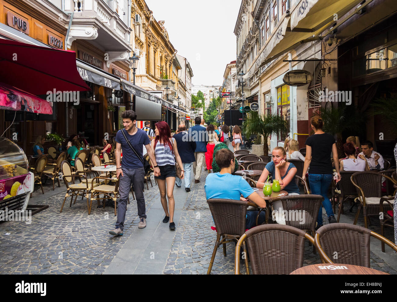Bars and restaurants in Old Town, Centru Vechi, Bucharest, Romania, Europe - Stock Image
