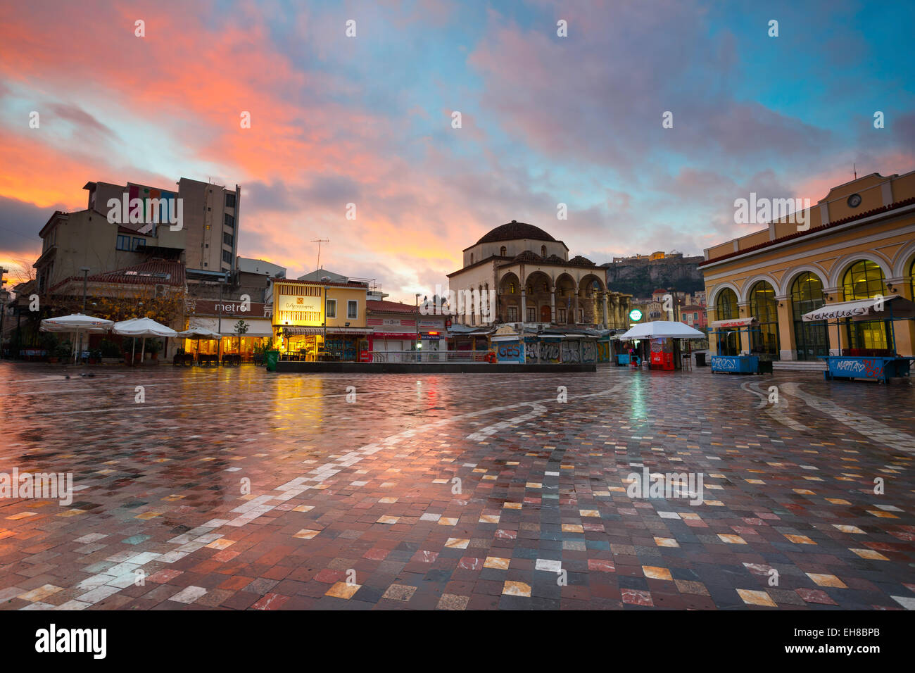 Monastiraki square early in the morning, Athens, Greece - Stock Image