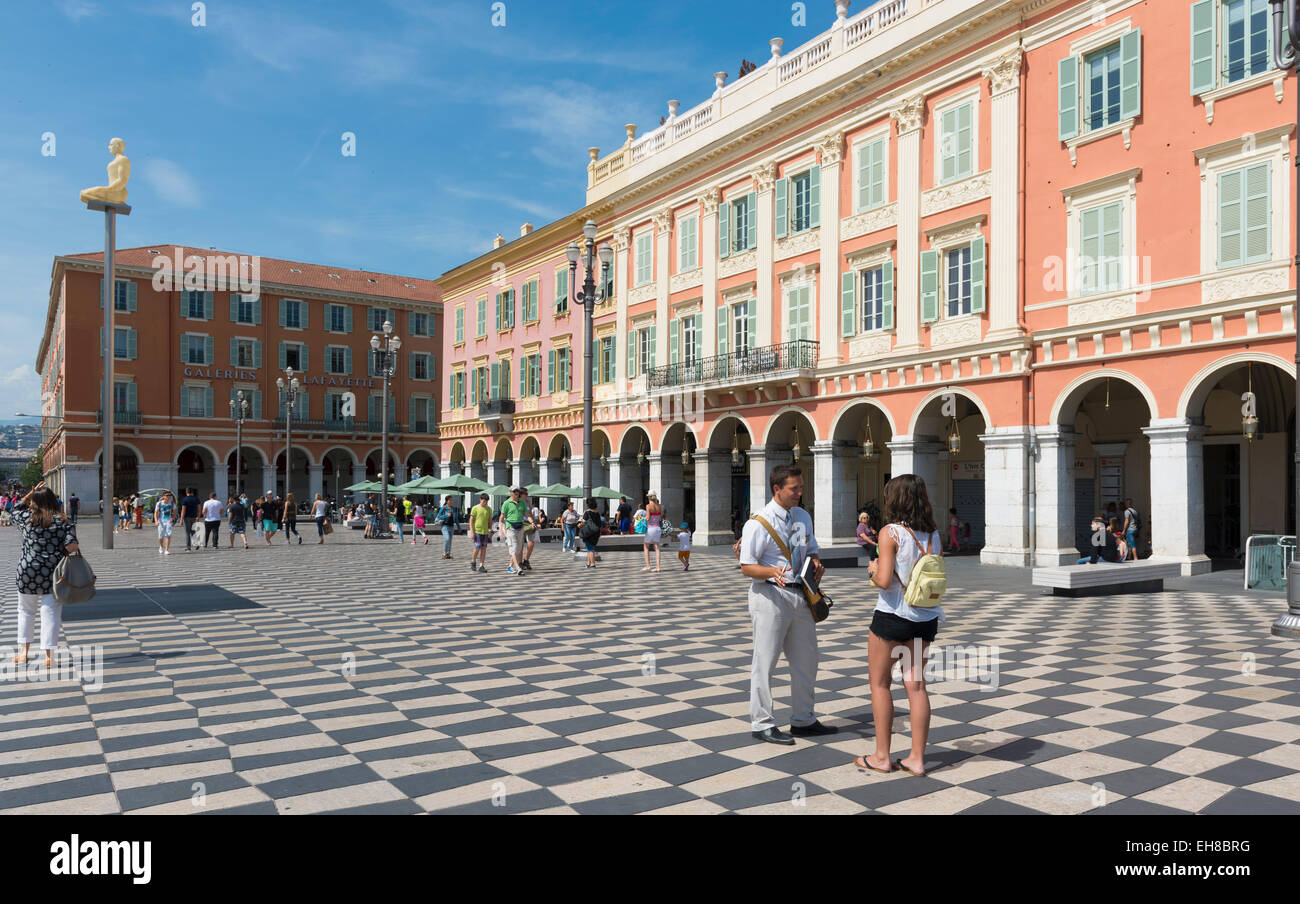 Place Massena square, Nice, Cote d'Azur, Provence, France Riviera, Europe - with sculpture column - Stock Image