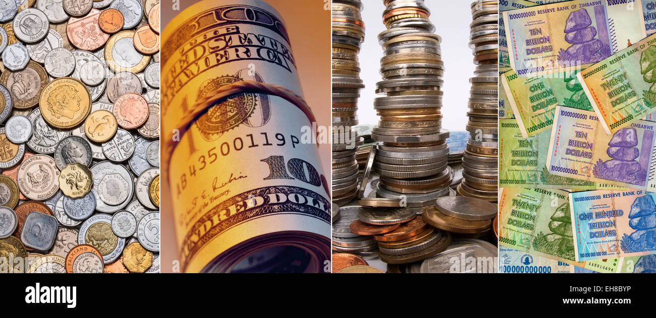 Coins and banknotes - Stock Image
