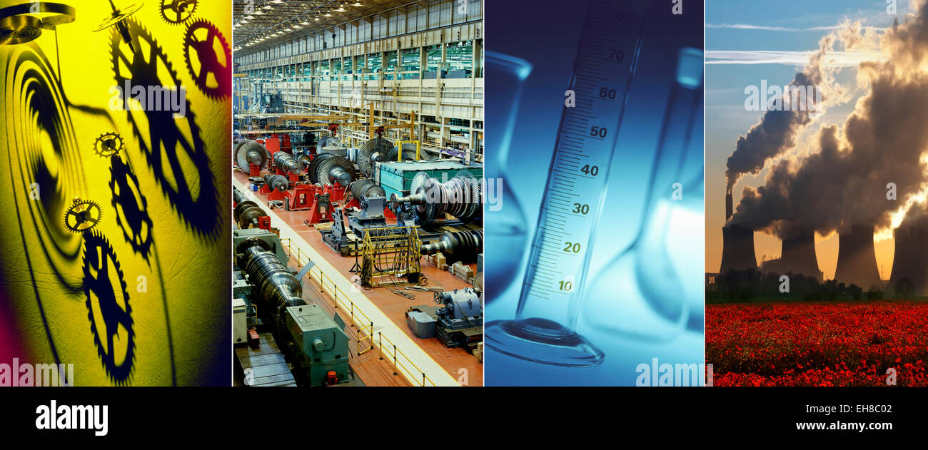 Industry - cogs and gears, manufacture, chemical industry and power generation. - Stock Image