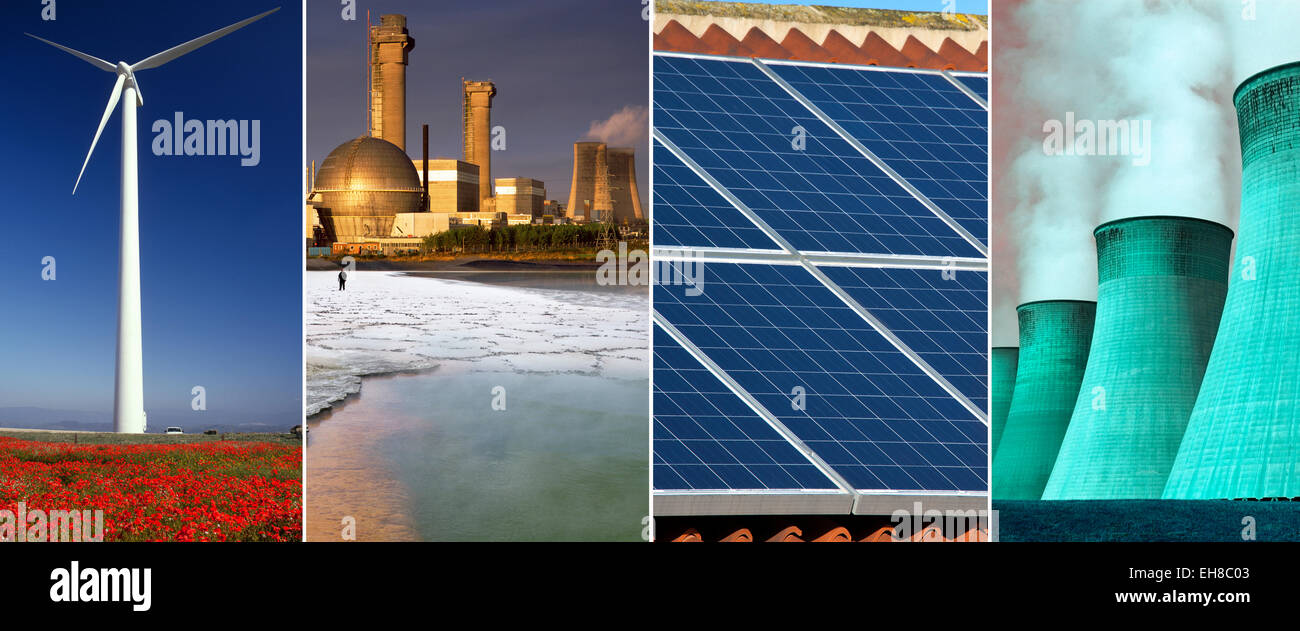 Energy and Power Generation - Wind Power, Nuclear Power, Solar Power and Coal Powered Power Plant. - Stock Image