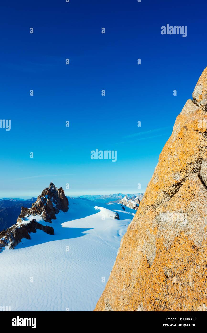 Europe, France, Haute Savoie, Rhone Alps, Chamonix, Aiguille du Midi from Mont Blanc Stock Photo