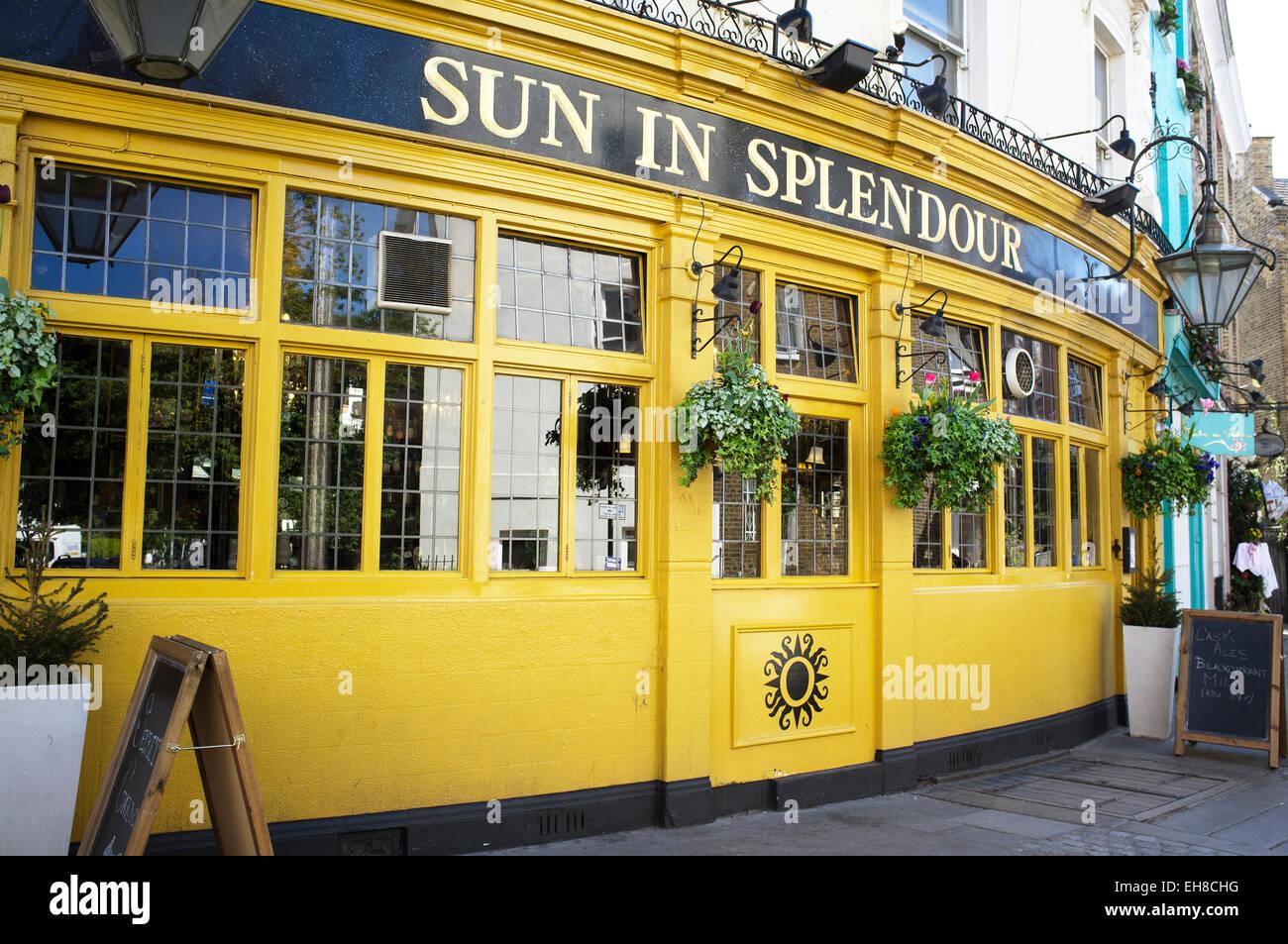 LONDON, UK – APRIL 15, 2014: Sun in Splendour, an English Pub, Portobello Road, Notting Hill Stock Photo