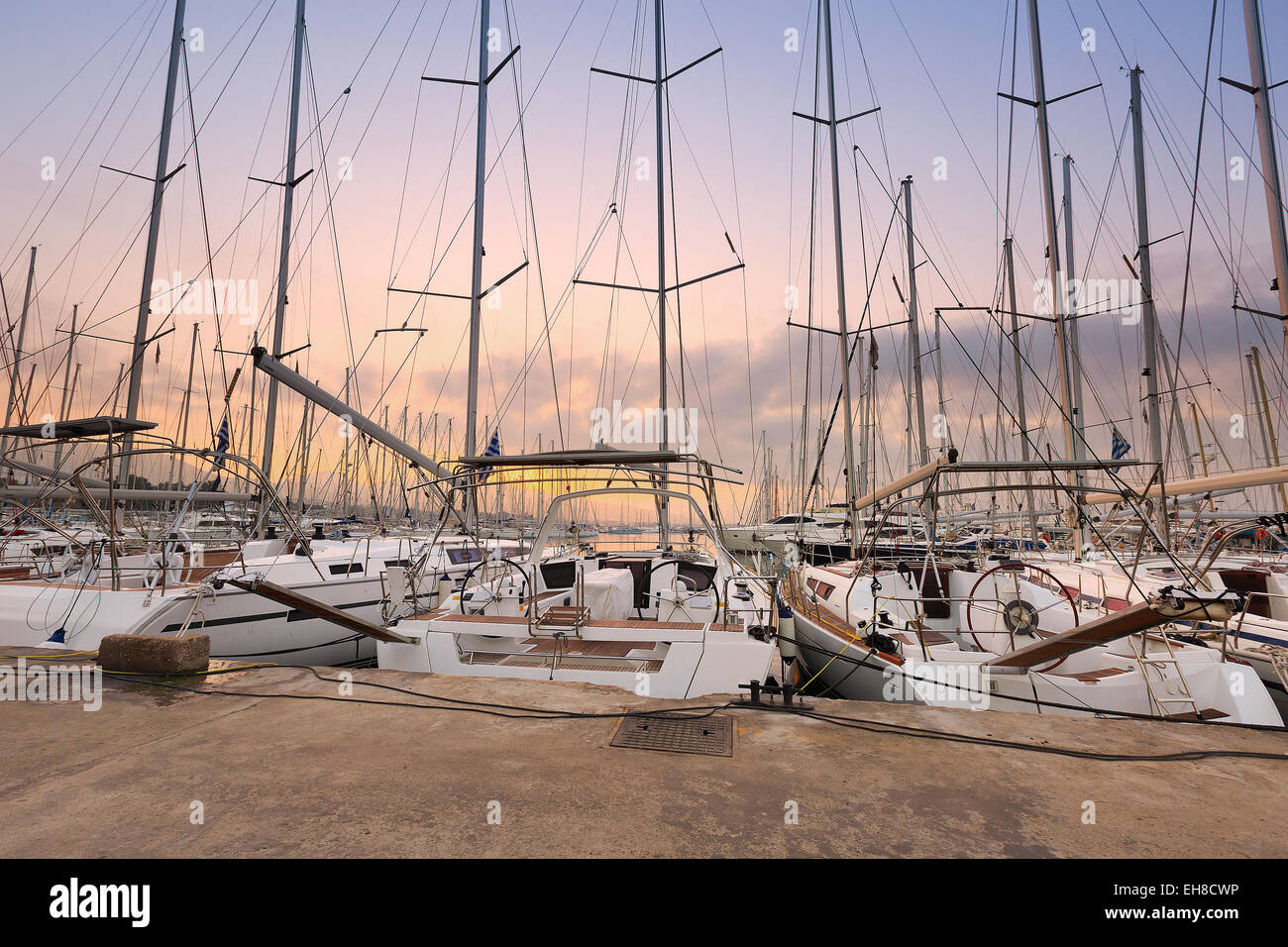 Sunset in Alimos marina in Athens, Greece. - Stock Image