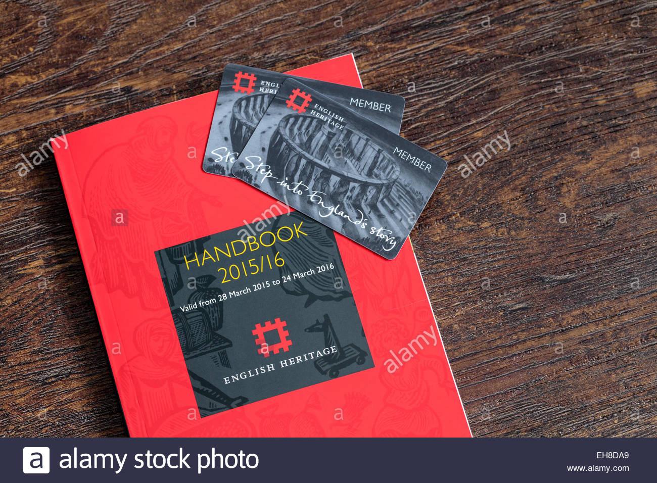 English Heritage Membership Cards and Handbook - Stock Image