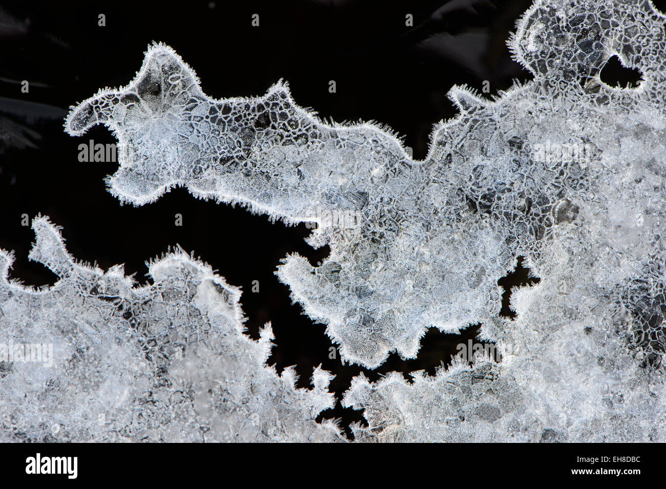 close up of a piece of ice with fine shapes and details , covered with frost Stock Photo