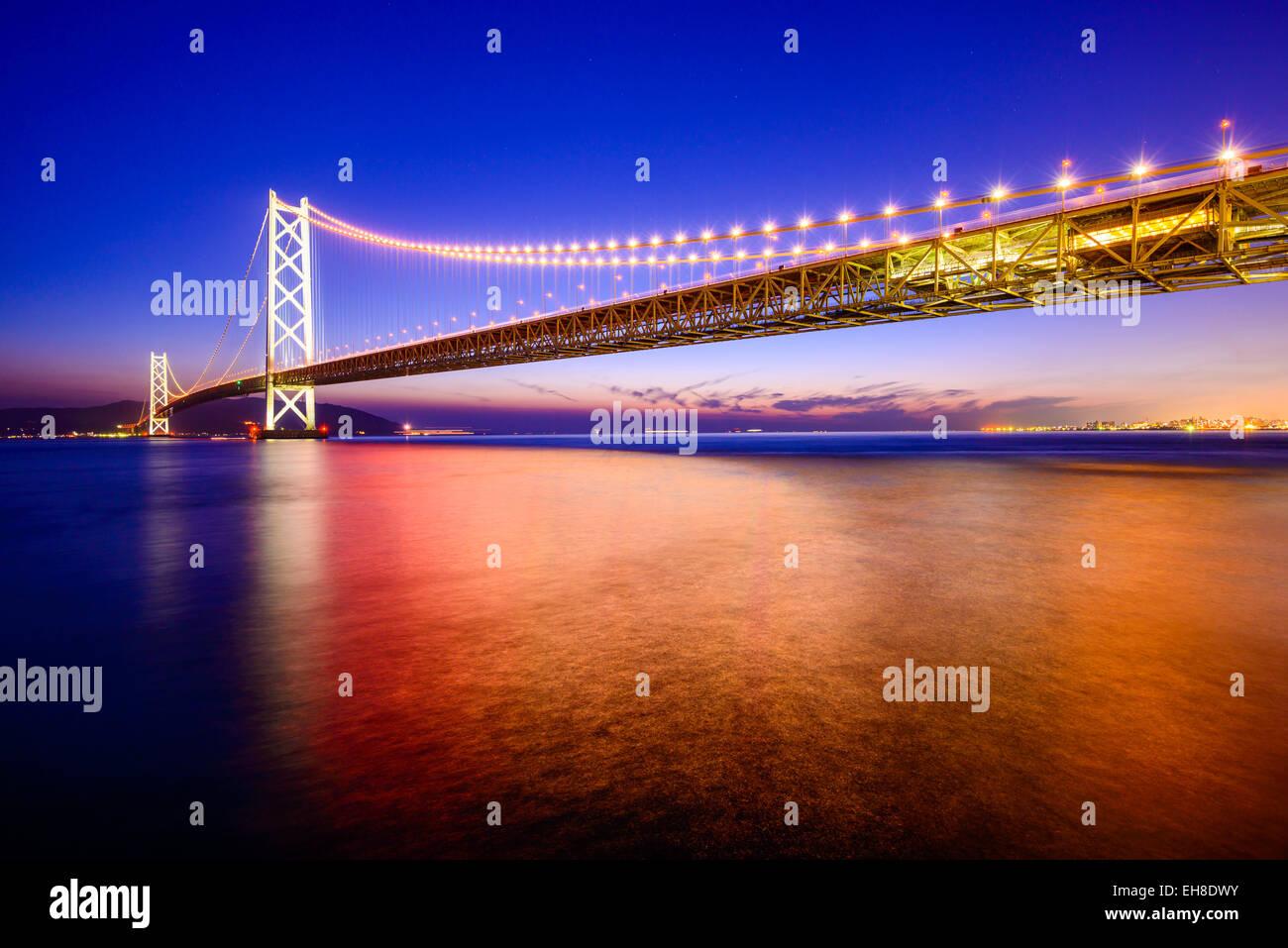 Kobe, Japan at the Okashi Kaikyo Ohashi Bridge spanning the Seto Inland Sea. - Stock Image