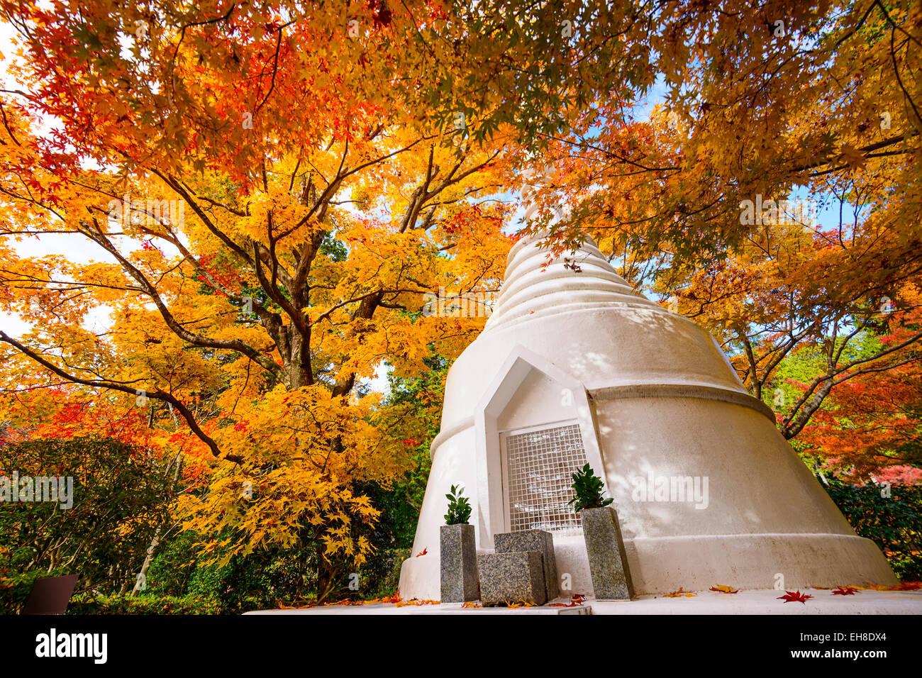 Pagoda during the fall at Ryoan-ji Temple in Kyoto, Japan. - Stock Image