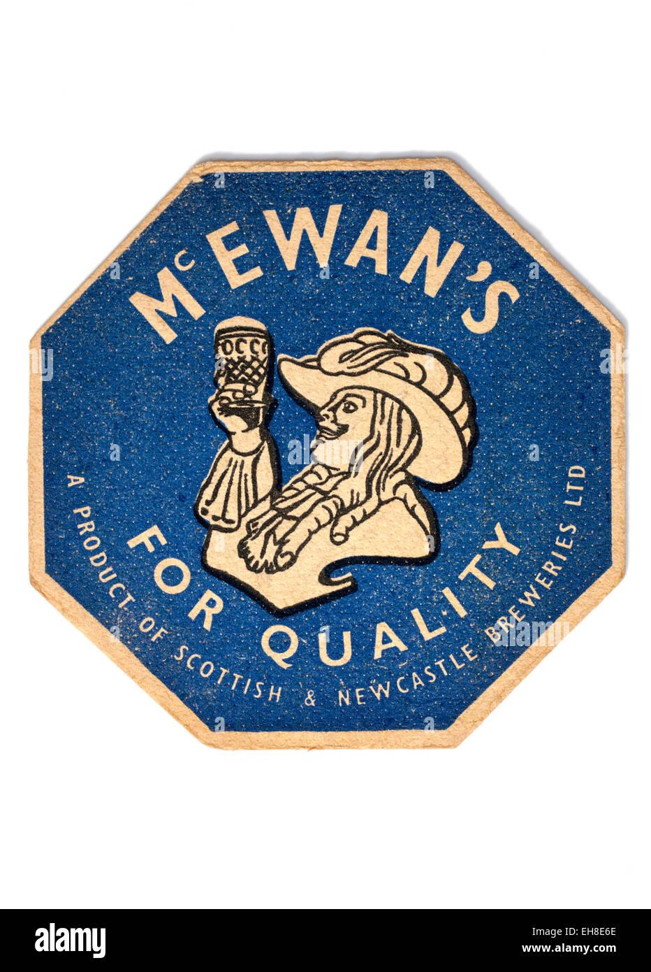 Vintage Beermat Advertising Mcewans Beer - Stock Image