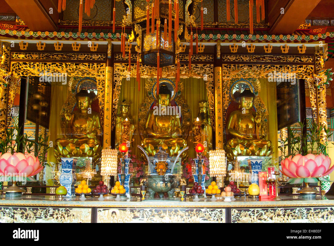 Altar in Chinese Buddhist Po Lin Temple on Lantau Island, Hong Kong - Stock Image