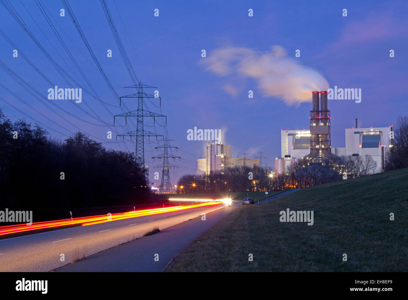 coal-fired power plant Moorburg, Hamburg, Germany - Stock Image