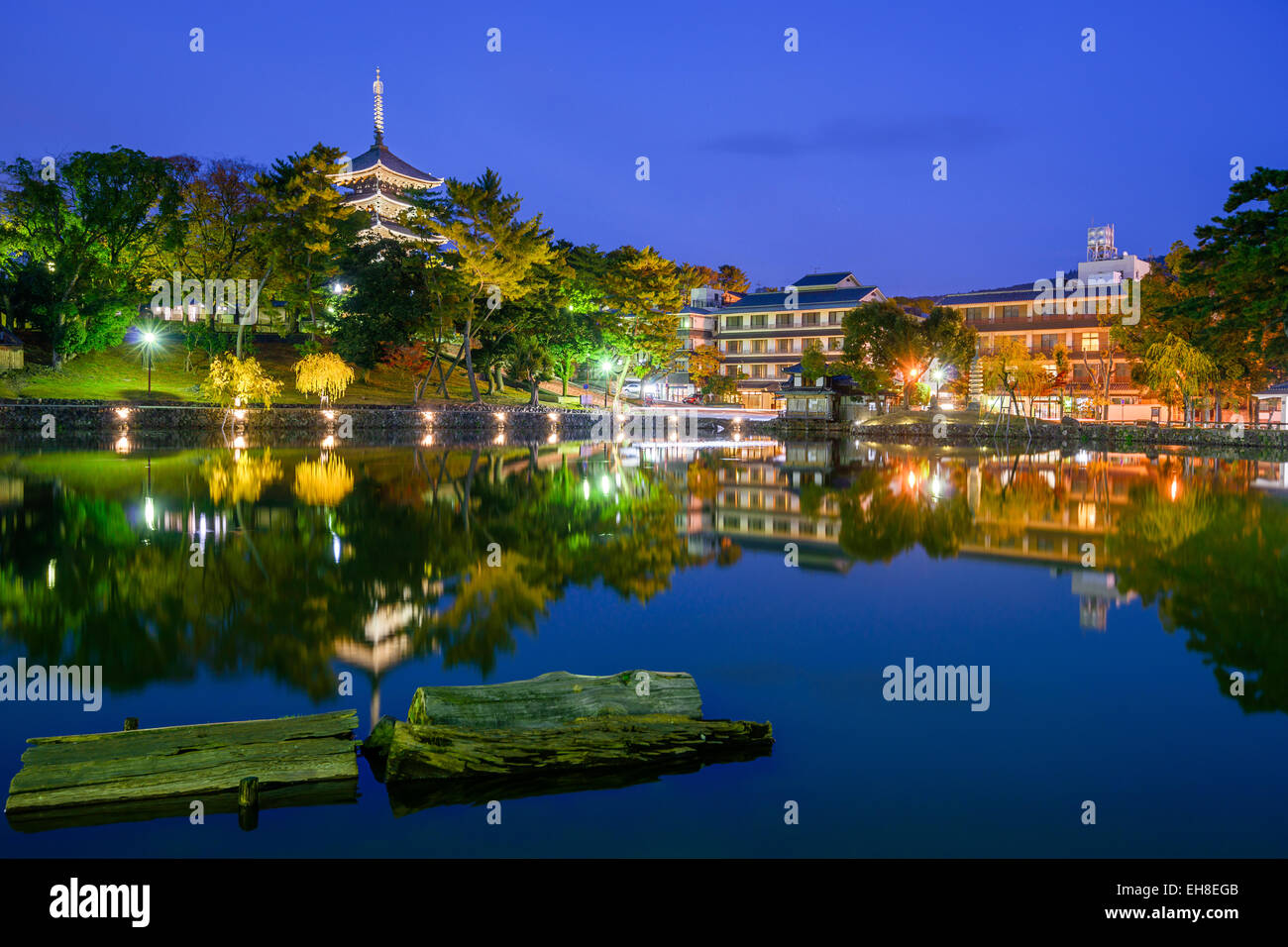 Nara, Japan old town skyline. - Stock Image