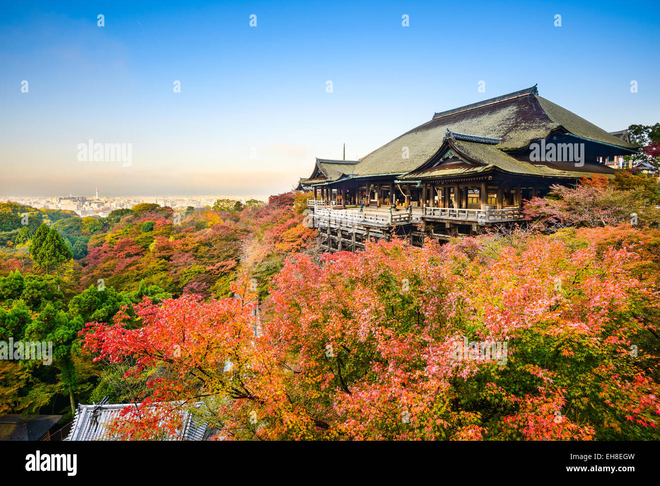 Kyoto, Japan at Kiyomizu-dera shrine in the autumn season. Stock Photo
