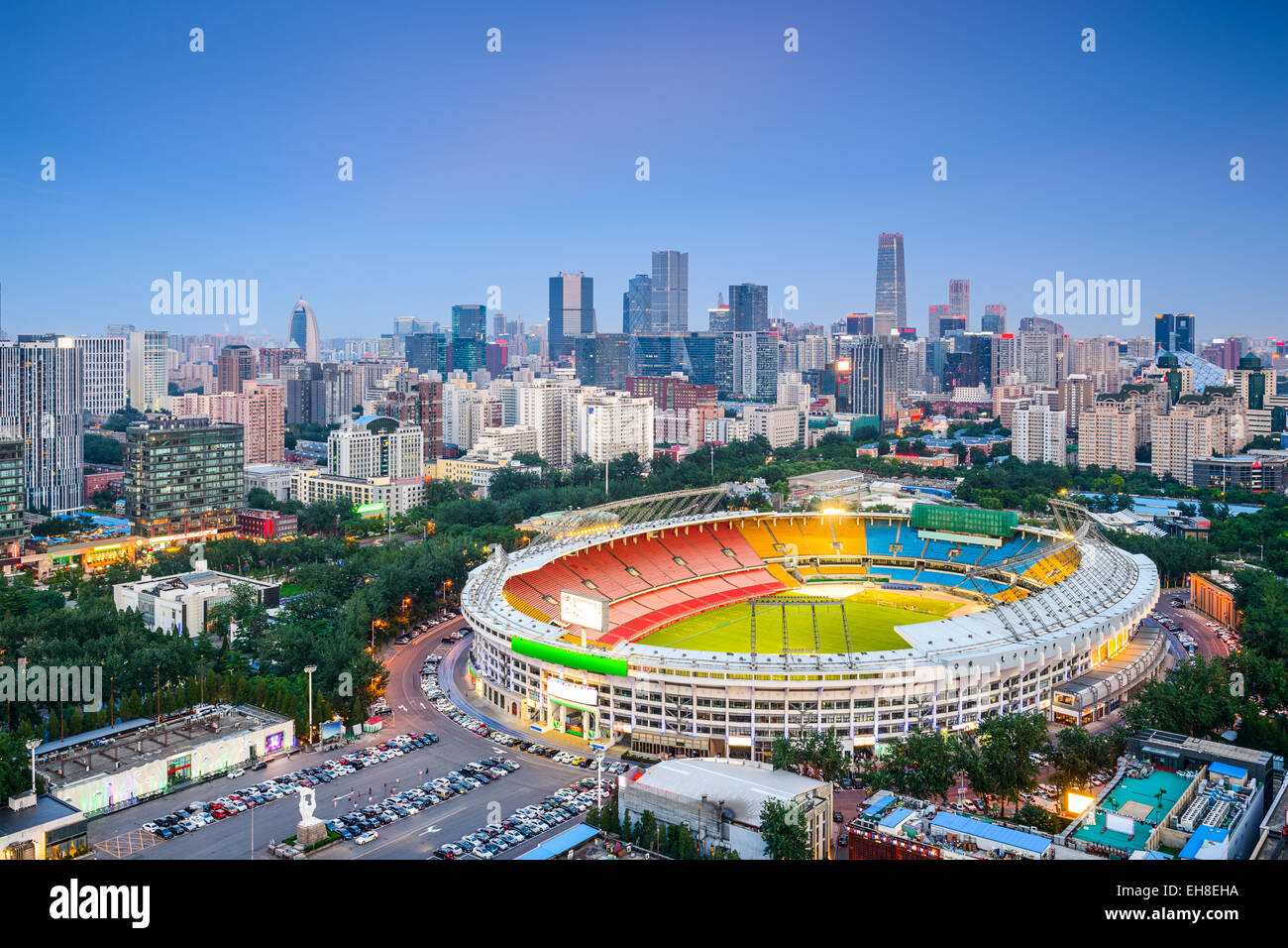 Beijing, China cityscape over the stadium towards the CBD. - Stock Image