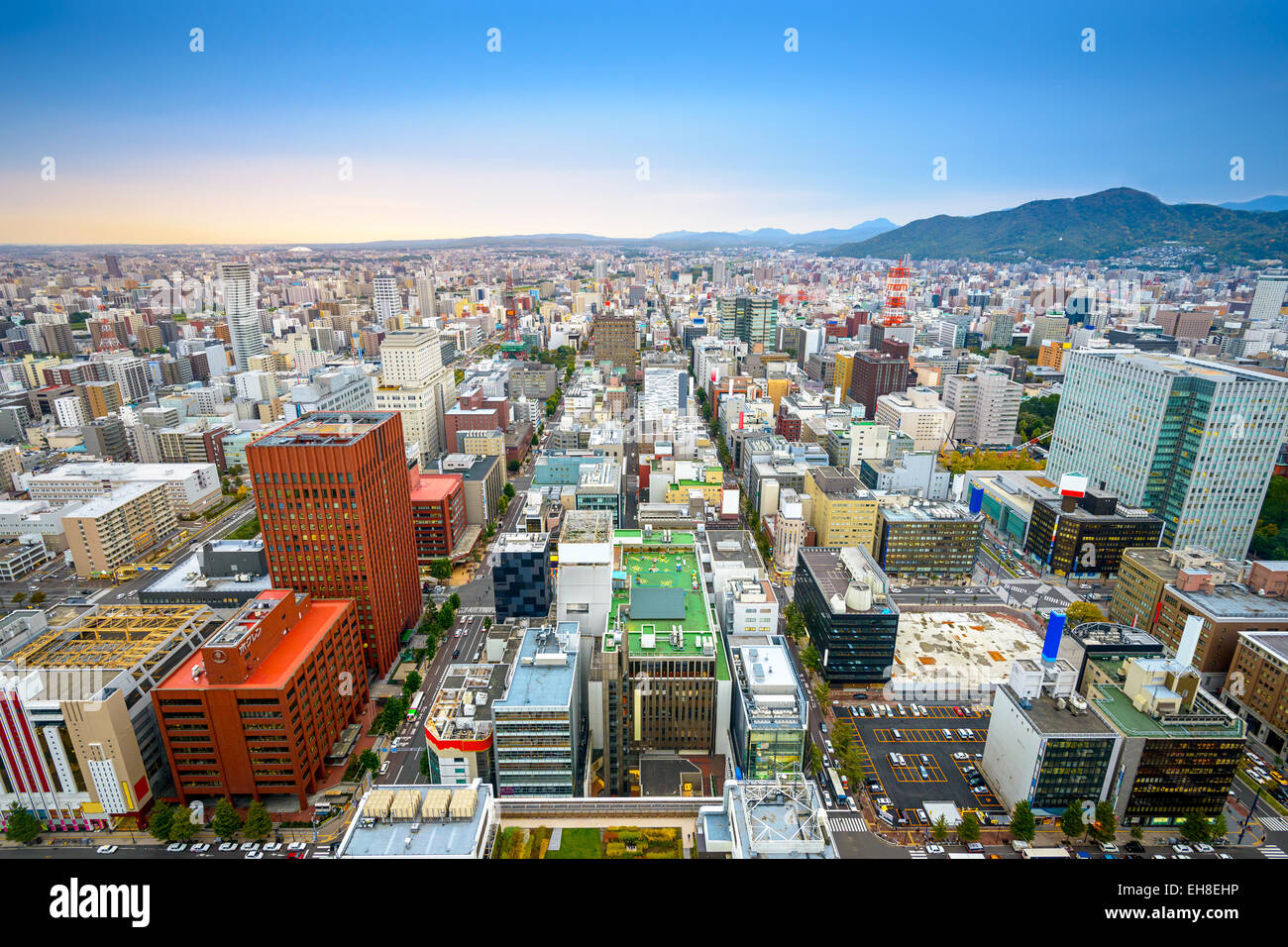Sapporo, Japan central ward cityscape viewed  from above. - Stock Image
