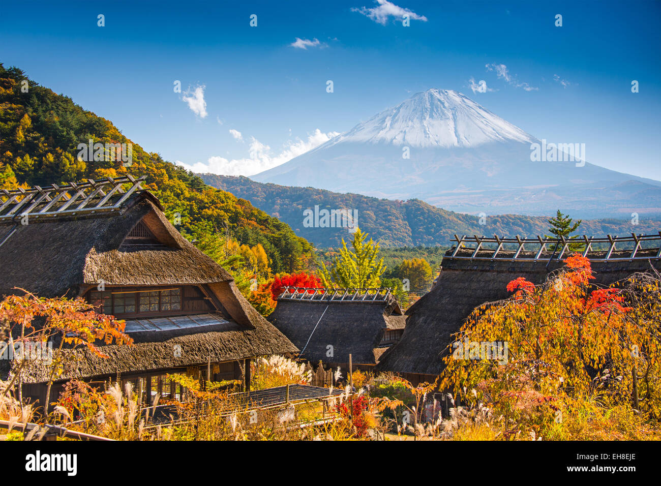 Iyashi-no-sato village with Mt. Fuji in Japan. - Stock Image