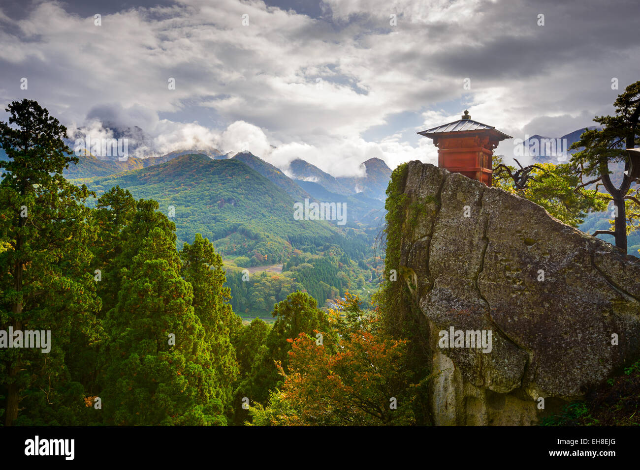 Small shrine building of Yamadera Mountain Temple in Yamagata, Japan. - Stock Image