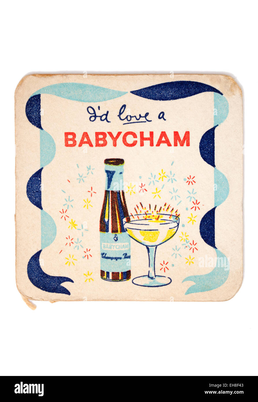 Vintage Beermat Advertising Babycham Drink - Stock Image