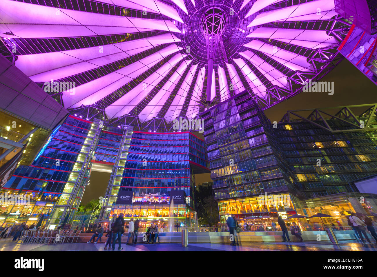 Sony Center at night. The center is a public space located in the Potsdamer Platz financial district of Berlin, - Stock Image