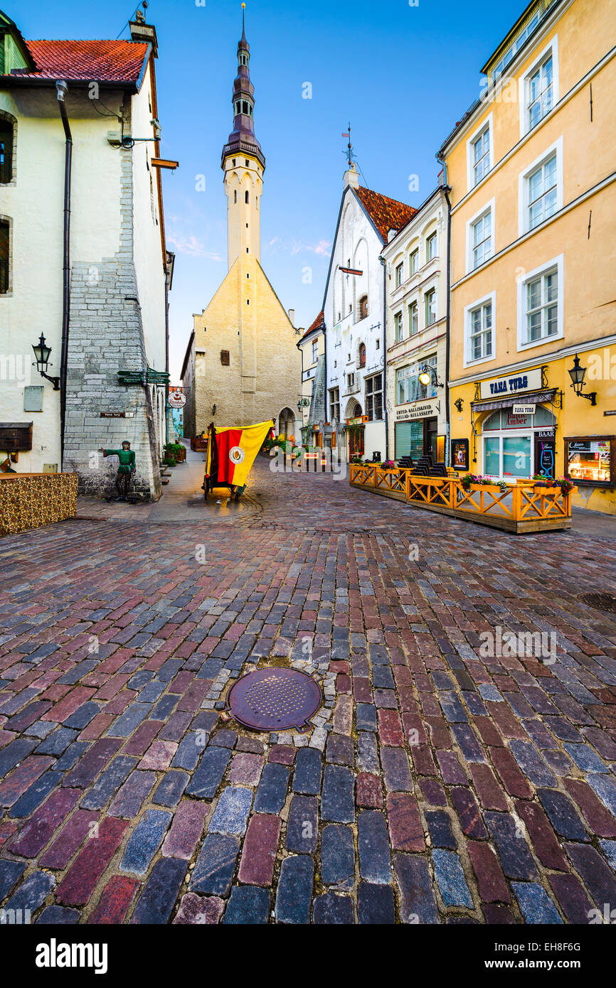 Old shops and pubs line the way to the Town Hall of Tallinn. - Stock Image