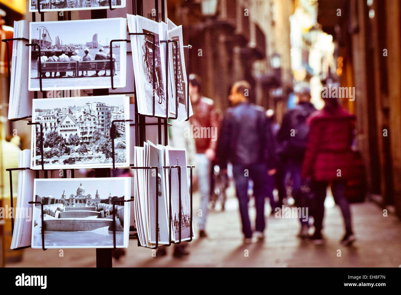 Postcards from Barcelona, defocused street. Barcelona, Catalonia, Spain. - Stock Image