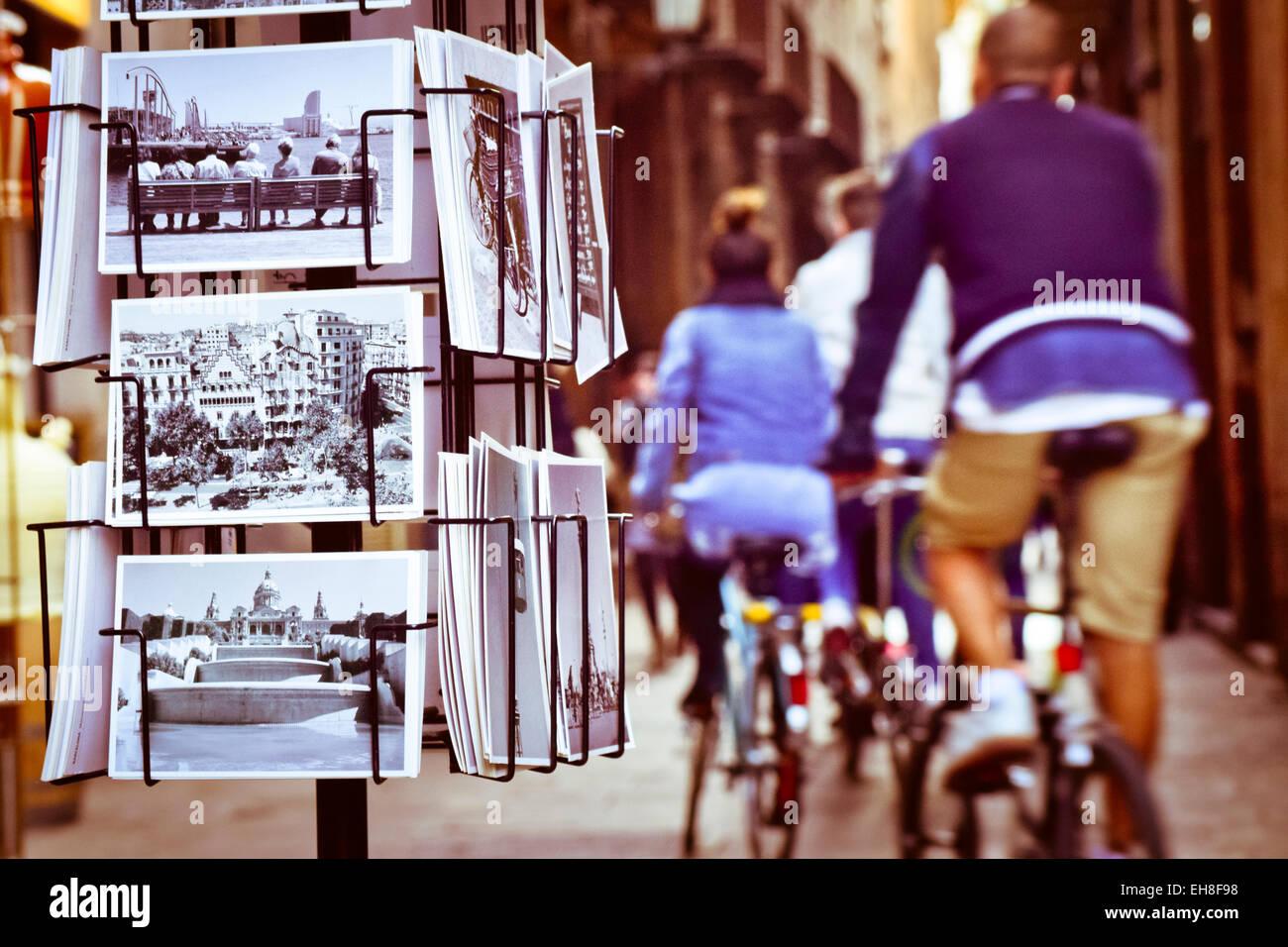 Postcards from Barcelona, defocused street. Barcelona, Catalonia, Spain. - Stock Image