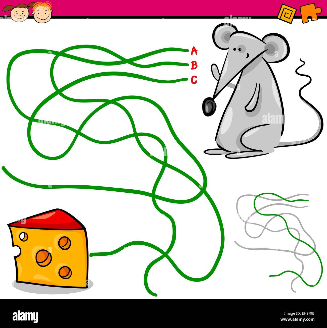 Cartoon Illustration of Education Path or Maze Game for Preschool ...
