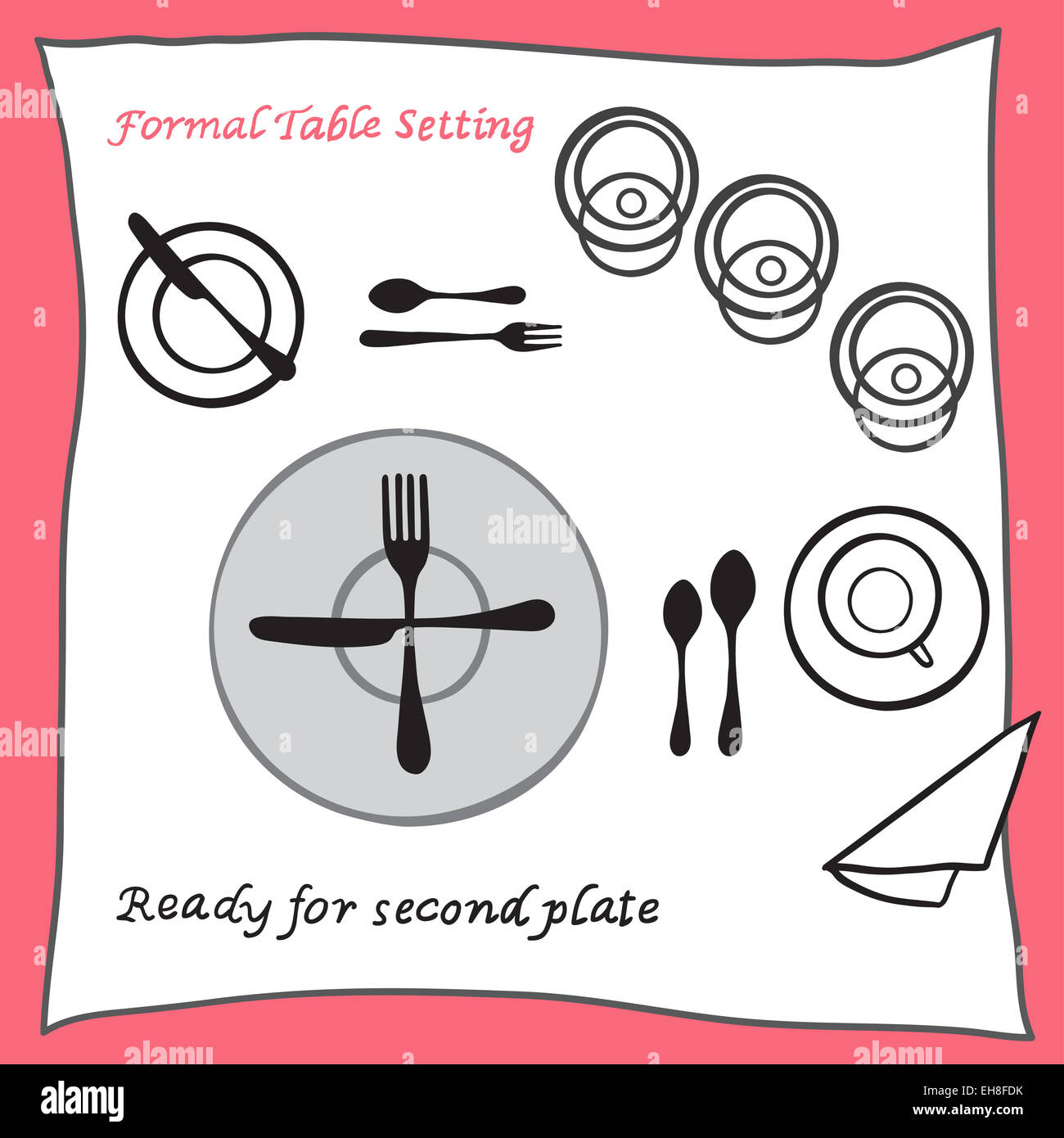 Ready for second plate. Dining table setting proper arrangement of cartooned cutlery  sc 1 st  Alamy & Ready for second plate. Dining table setting proper arrangement of ...